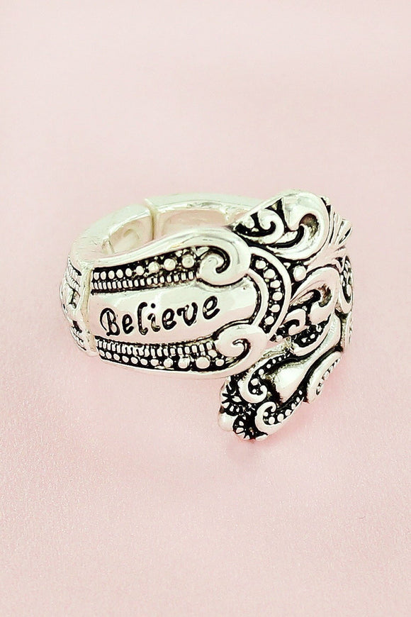 Antique Silvertone 'Believe' Spoon Ring
