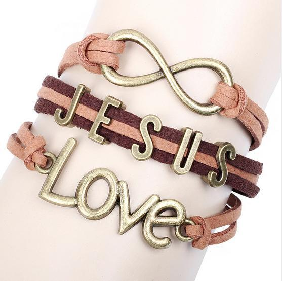 Jesus Bracelet Woven Multi-Layer Leather Chains Infinity Letter Charms Bracelet