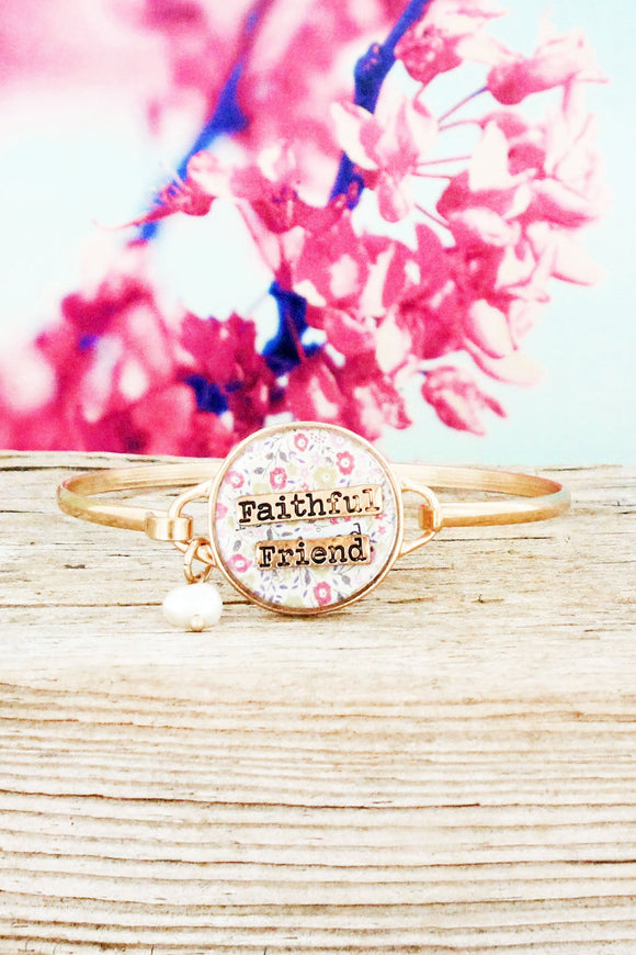 Worn Goldtone Floral 'Faithful Friend' Bracelet