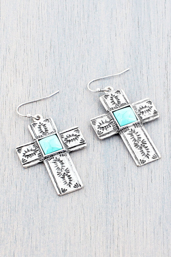 Western Style Turquoise Square Bead Cross Earrings
