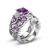 Women's Amethyst Diamond 925 Sterling Silver Band Heart Ring