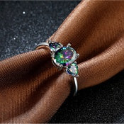 Natural Mystic Fire Rainbow Topaz Cocktail Ring