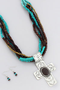 Burnished Silvertone and Brown Bead Cross Multi-Strand Necklace and Earring Set