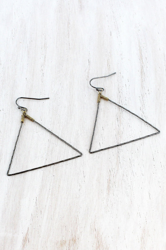HEMATITE TRIANGLE WIRE EARRINGS