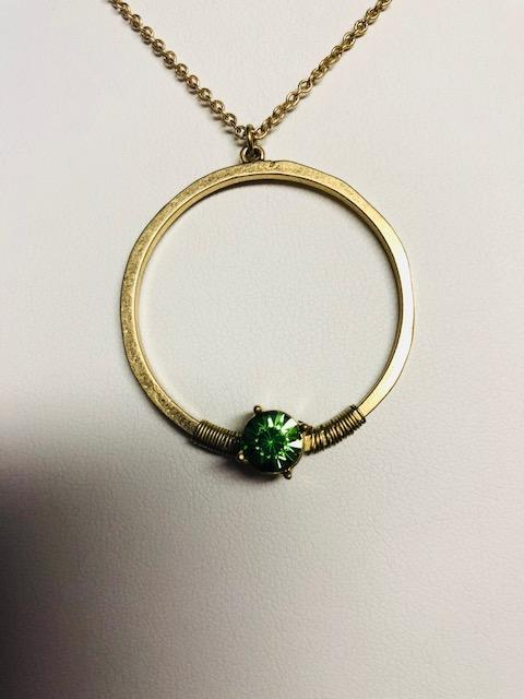 WIRE WRAPPED GOLDTONE HOOP NECKLACE WITH MINT CRYSTALS