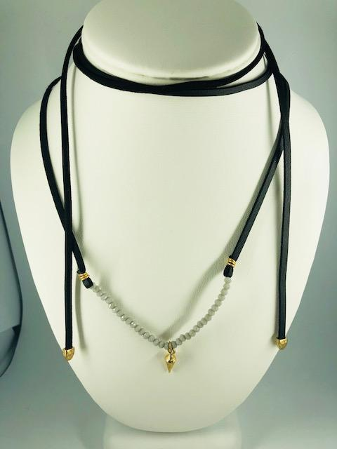 BLACK FAUX LEATHER BEADED WRAP NECKLACE