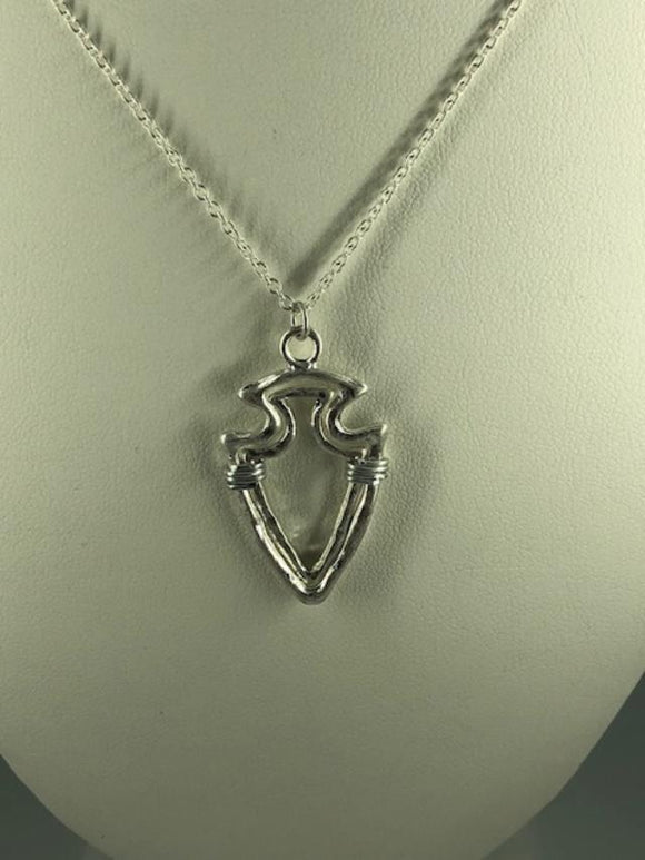 SILVERDTONE SPEAR WIRE-WRAPPED PENDANT NECKLACE