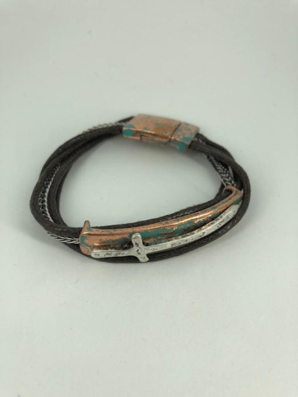 Distressed Turquoise and Two-Tone Wavy Cross Multi-Strand Magnetic Bracelet