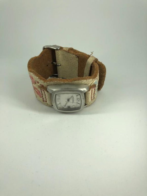 Fossil Leather Flower Pastel Women's Watch (used)