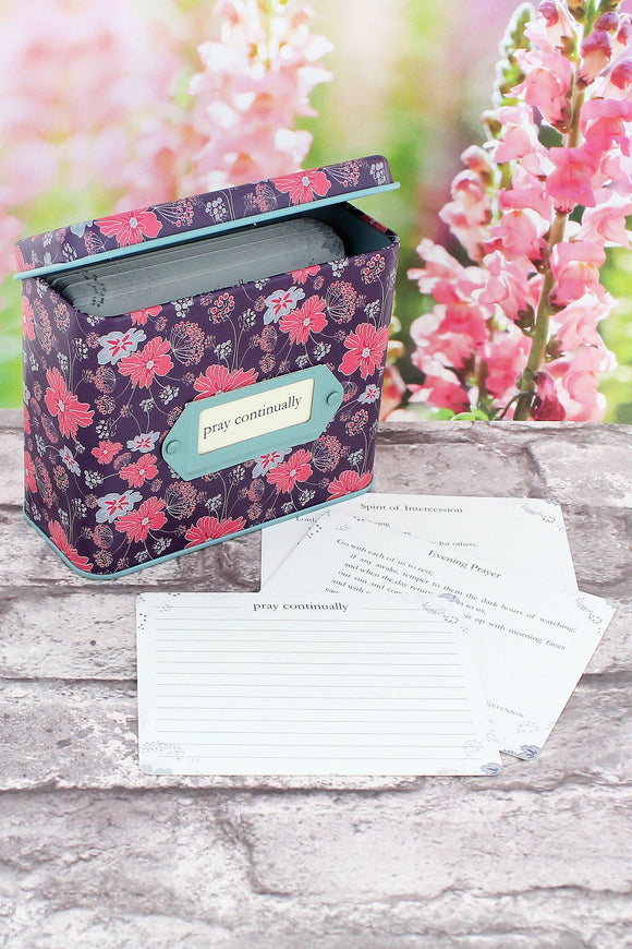 'Pray Continually' Prayer Cards in a Floral Tin