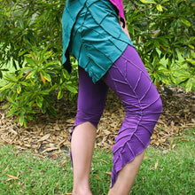Textured Leaf Leggings - Natural Fibres - pixie Leggings LARP - Active Wear