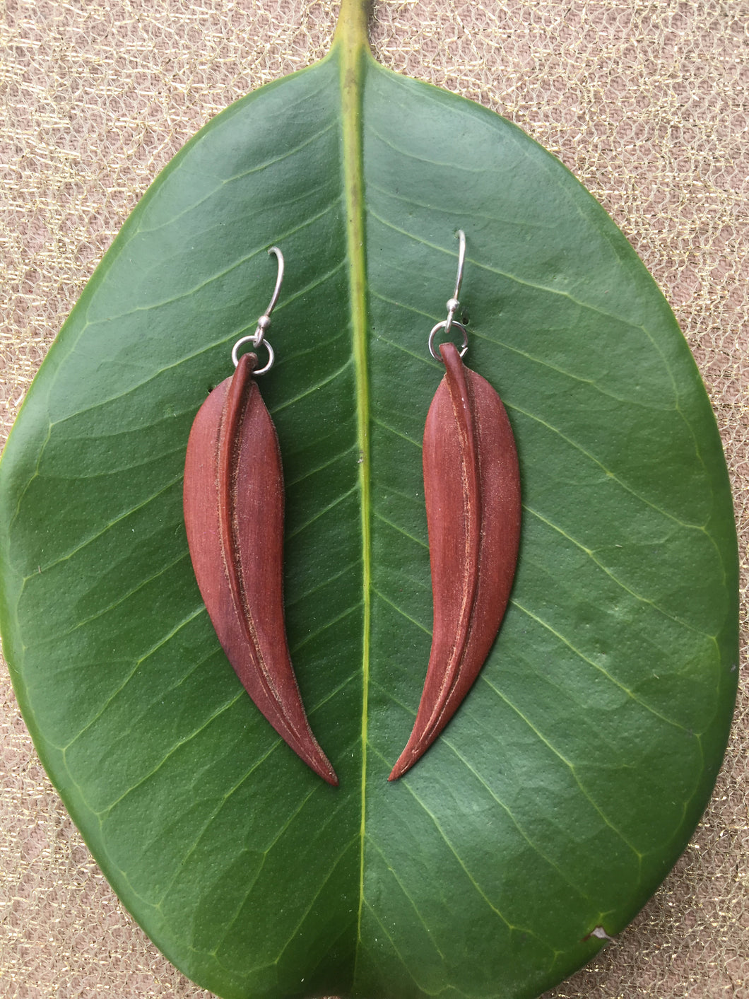 Smooth Gum Leaf Earrings - Suar wood - Mahogany Red/Brown Earrings