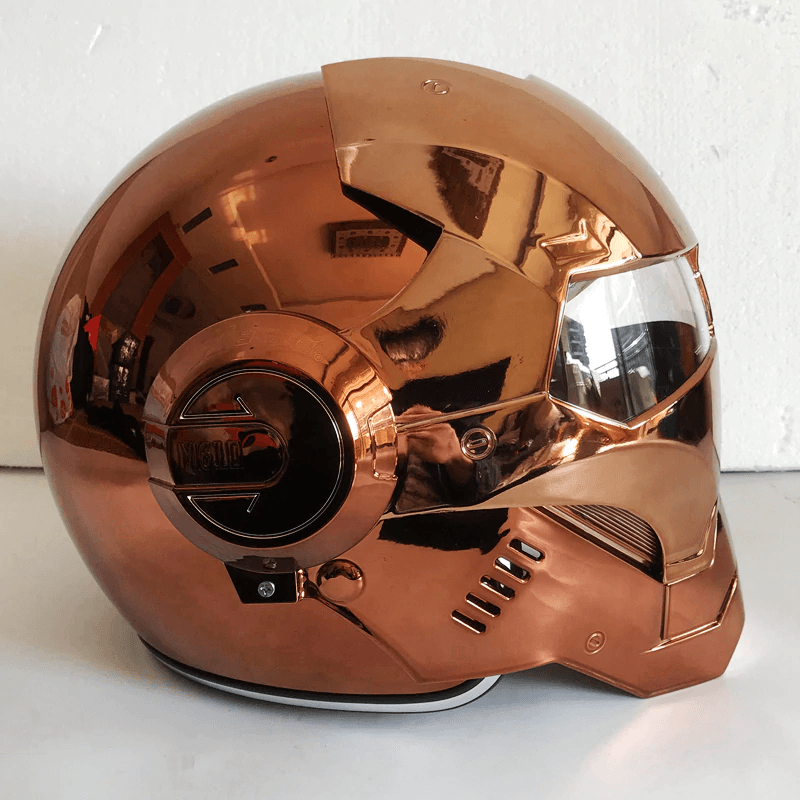 Iron Man Bronze Plating Motorcycle Helmet