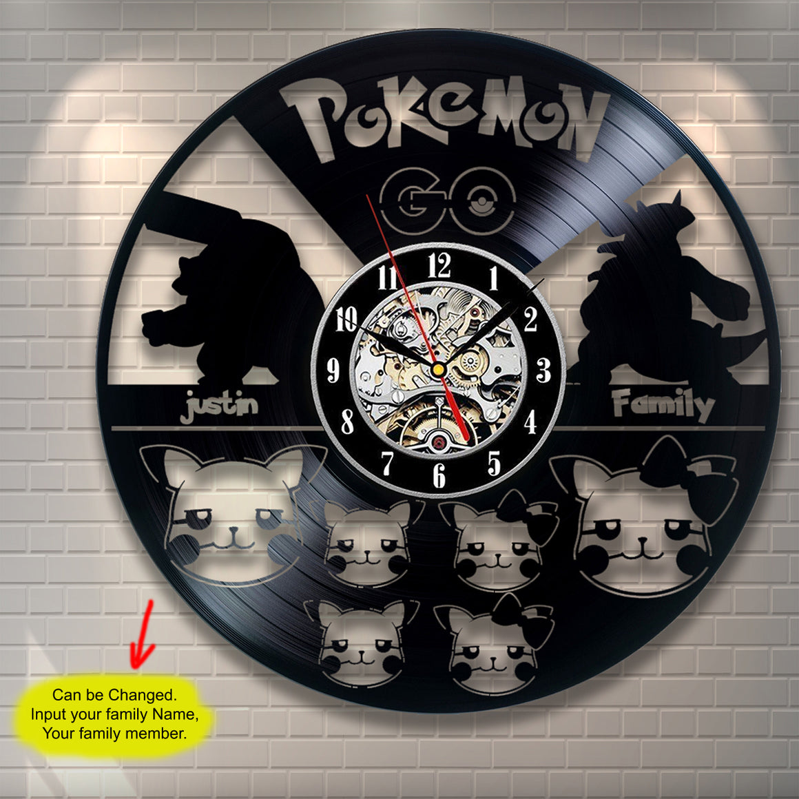 Pokemon Family Custom Wall Clock