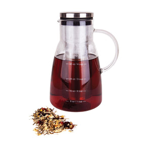 Cold Brew Coffee Maker & Tea Infuser Carafe by Integrity Chef - 5 Cup Pitcher, Premium Food Grade Quality Stainless Steel & Glass Pot, Perfect Gift, SAVE A LIFE!