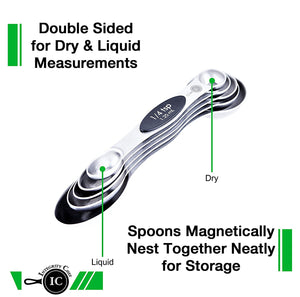 Premium Stackable Magnetic Measuring Spoon Set by Integrity Chef - Baker's Dream Gift, Stainless Steel 5-Piece Kit, Magnetic Snaps, Measure Dry & Liquid Ingredients, SAVE A LIFE!