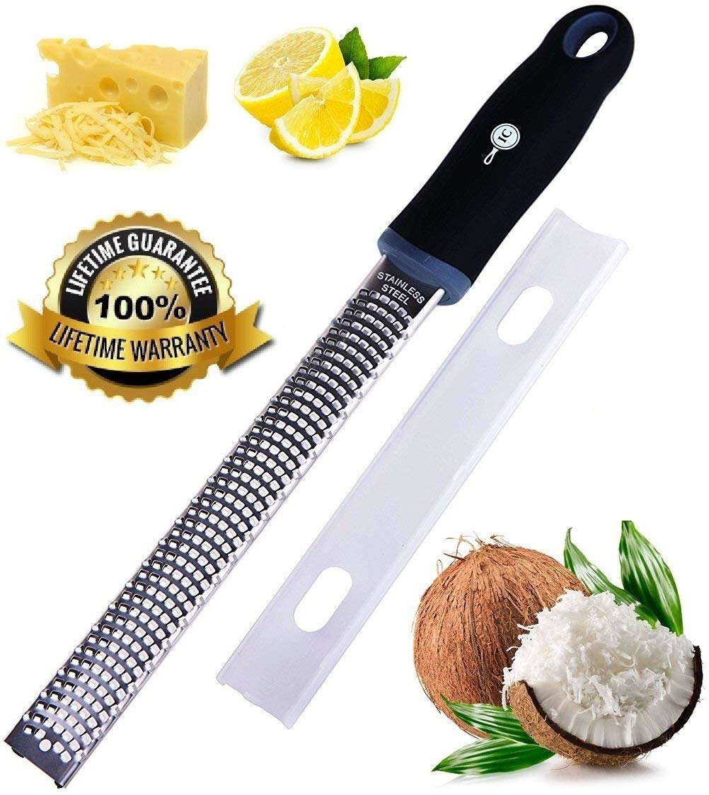 Premium Lemon Zester Tool, Grater, Rasp by Integrity Chef - Antibacterial, Ergonomic, Non-Slip Grip Handle, Stainless Steel Blade, Citrus Zester, Parmesan Cheese Grater, Ginger, Nutmeg, SAVE A LIFE!