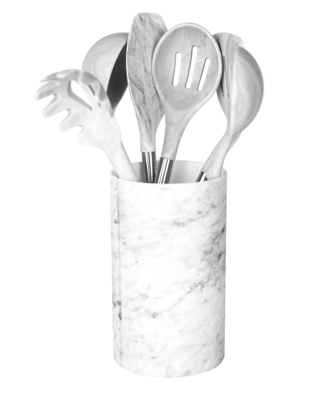 BRAND NEW! Marble Silicone Kitchen Utensil Set by Integrity Chef with Utensil Holder - Gorgeous Kitchen Utensils Cookware Set With Premium Acacia Wood Handles | Cooking Utensils Wedding Registry Gift