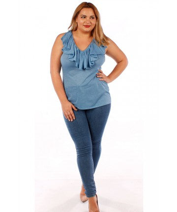 1x-6x Ruffle Blue Top Free Shipping