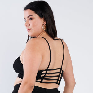 1x-3x Plus Size Black Open Stripe Back Cami Strap Athletic Lounge Sports Bra FREE SHIPPING
