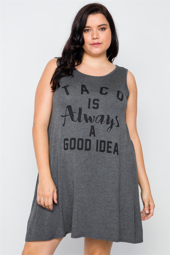 Plus Size Charcoal Taco Tunic Dress