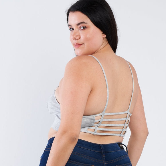 1x-3x Plus Size Gray Open Stripe Back Cami Strap Athletic Lounge Sports Bra FREE SHIPPING