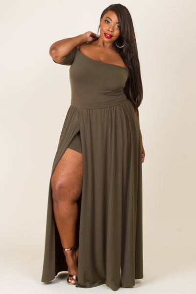 1x-3x Off Shoulder Slit Romper - Olive Free US Shipping