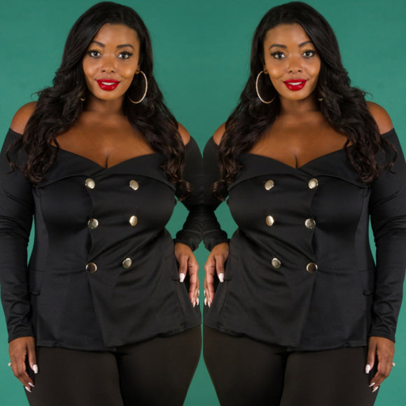 1x-3x Plus Size Off Shoulder Black Jacket