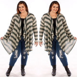 Plus Size Olive Long Knit Striped Cardigan