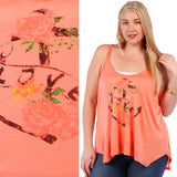 1x-3x Graphic Print Sleeveless Tee - Coral Free US Shipping