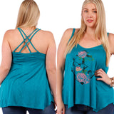 1x-3x Graphic Print Sleeveless Tee - Jade Free US Shipping