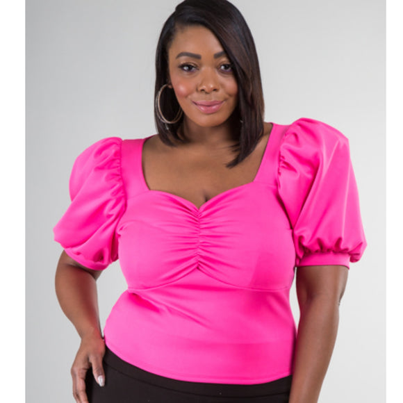 Pink Square Neck Cute Top