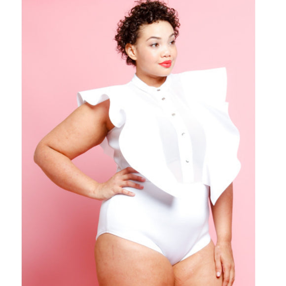 1x-3x Plus Size White Bodysuit Free Shipping