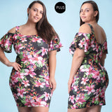 1x-3x Stretch Techno Floral Print Black Dress