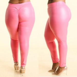 1X-3X Fabulous Pink Satin pu ruched back leggings