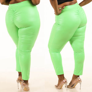 1X-3X Fabulous Neon Green pu ruched back leggings
