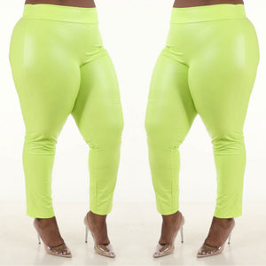 1X-3X Fabulous Neon Yellow pu ruched back leggings