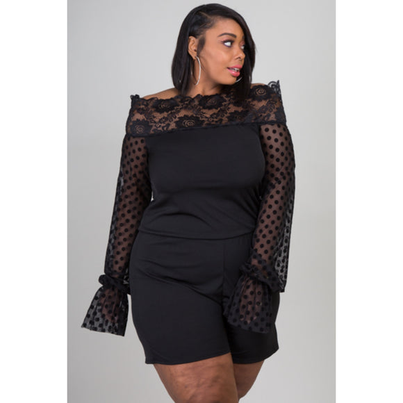 1x-3x New Plus Size Black Lace Romper Free Shipping