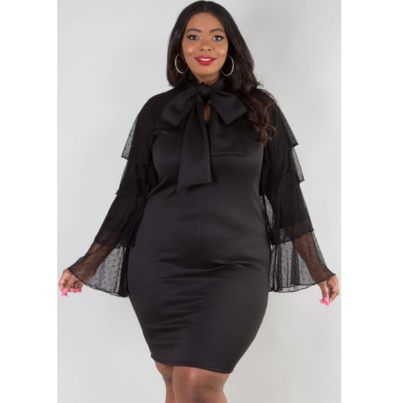 1x-3x Plus Size Black Cascade Dress Free Shipping