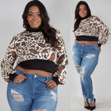 1x-3x Animal Print Crop Top Free Shipping