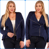 1x-6x Stylish Women's Blazer Asymmetric Zipper design Navy Blue