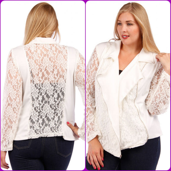 1x-3x Lace Panel Jacket with Asymmetrical Gold Zipper Ivory