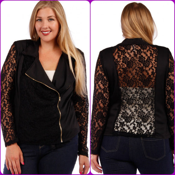 1x-3x Lace Panel Jacket with Asymmetrical Gold Zipper Black