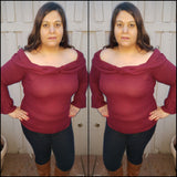 1x-3x New Plus Size Burgundy Sweater Top Free Shipping