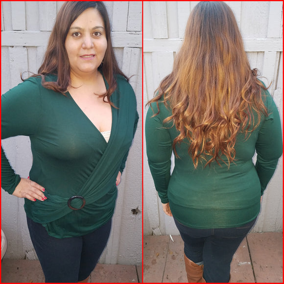 1x New Plus Size Green Long Sleeve Top Free Shipping
