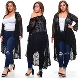1x-6x PLUS Size Long Elegant Lace Cardigan Free Shipping
