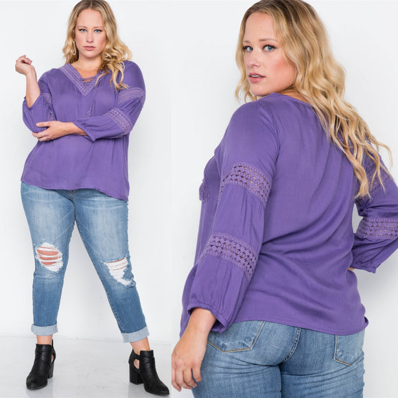 1x-3x Plus Size Violet Crochet Trim V-Neck Boho Top  Free Shipping