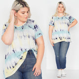 Plus Size Blue Yellow Tie Dye Retro Basic Short Sleeve Top Free Shipping