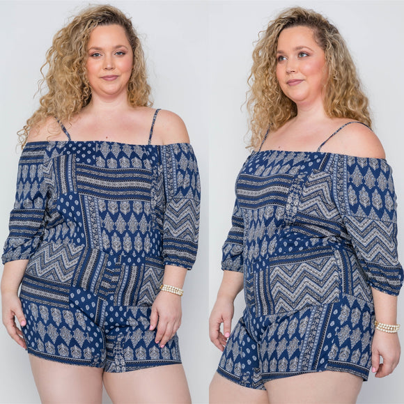 1x-3x Plus Size Multi Navy  Print Cami Romper FREE SHIPPING
