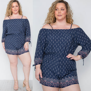 1x-3x Plus Size Multi Navy Off Shoulder Romper FREE SHIPPING